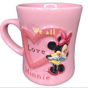 Disney Parks 3D Minnie Mouse Ceramic Pink Mug
